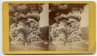 Oil Fire Disaster Vintage Stereoview Photo