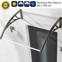 Pensilina In Policarbonato 80x100cm Tettoia Per Porte e Finestre Modulare Nero