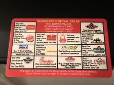 REUSABLE  Restaurant Fast Food Fundraiser Discount Gift Card Expires 2023