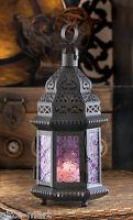 "small Moroccan 11"" PURPLE black Candle holder LANTERN outdoor lamp wedding"