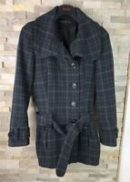 Topshop Ladies Size 6 Checked Soft Shell Belted Acrylic Wool Coat Jacket
