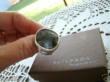 Silpada Sterling Silver Wavy Feldspar Ring Sz 6.75 R1875 Retired!
