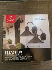 Globe Electric 44165 Sebastien 1Light Black Outdoor Wall Lantern Sconce (1-PACK)