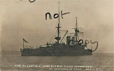 WW1 Ship HMS Irresistible sunk by mine during opening bombardment Dardanelles