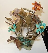 TURQUOISE JADE ROSE QUARTZ FLORAL BLOSSOM TREE WITH JADE POT