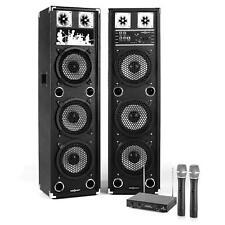 Karaoke: Coppia Altoparlanti Casse 200W 2 Radiomicrofoni Wireless 100M Vhf