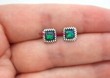 Sterling Silver 925 Opal Peacock Stud Earrings