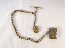 GOLD PLATED VICTORIAN WATCH CHAIN WITH VESTA AND LOCKET