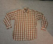 Burberry London Plaid Shirt Size Medium Brown Rust Tan Cotton Button Down Mens