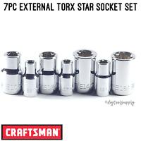 """NEW Craftsman External E Torx Star Bit Socket Set 1/4"""" 3/8"""" Drive Ratchets 7pc"""