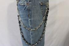 Men Silver Metal Wallet Chain Key Chain Biker Jean Trucker Black Skulls Skeleton