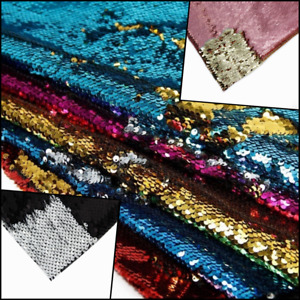 Reversible Double Sided Colours Polyester Sequin Fabric 5mm Flip Mermaid Cloth