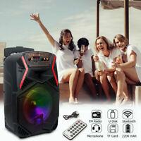 "8"" Portable Bluetooth Speaker Wireless 1000W Party FM Tailgate Heavy Bass Remote"