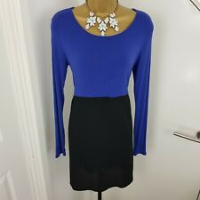 aec4d709aa Phases Eight Dress Tunic Stretchy Boat Neck Long Sleeves Blue Black Size M  UK 10
