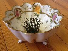 Vintage Japanese hand-painted bowl w/ Blue Ribbon Flower Holder Co.,Flower Frog