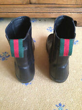 Gucci Mens Shoes Black Leather Chelsea Dealer Boots UK 8 US 9 42 Red Green Web