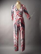 Sale Black White Coral Geometric Wrap Dress Pant Wide Leg 197 mv Jumpsuit S M L