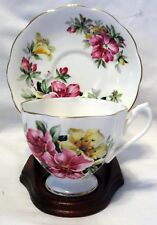 Queen Anne Large Flowers Tea Cup & Saucer Made in England