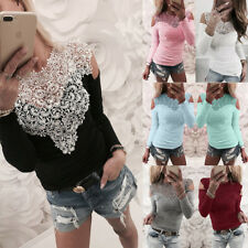 UK Womens Sexy Lace Slim T-Shirt Blouse Ladies Long Sleeve Fashion Pullover Tops