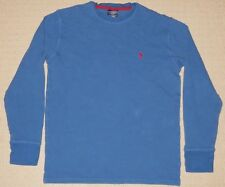 Mens POLO RALPH LAUREN Sleepwear Blue Red Pony Thermal Long Sleeve Shirt Medium
