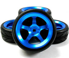 AA1005B 1/10 Scale RC Car On Road Wheel and V Tread Tyre Blue Alloy 5 Spoke 4