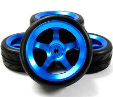 Aa1005b 1/10 Scale Rc Car On Road Rueda Y V banda de rodadura de neumáticos Azul de aleación 5 Radios 4