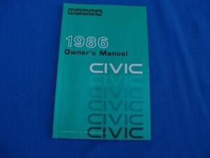 FACTORY ORIGINAL *1986  HONDA CIVIC*  OWNERS MANUAL