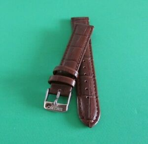 REPLACEMENT SEIKO LEATHER  WATCH BAND  BROWN 🖤 SIZE 18MM WITH SILVER CLASP