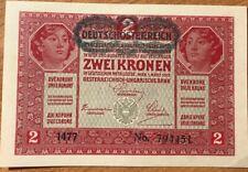 1917 ~ AUSTRIA ~ 2 KRONEN Banknote ~ CRISP UNCIRCULATED