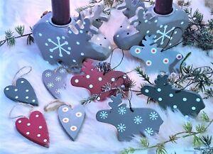 Rentier Herz Anhänger Set 8 Stück bemalt Weihnachtsschmuck Adventszeit Aufhänger
