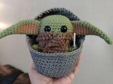"""Little One"" Baby Yoda inspired- Frog and Glow Lightsaber !! HandmadeCrochet"