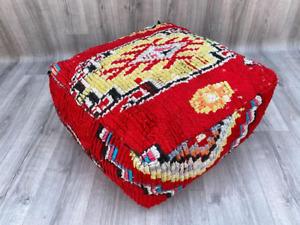 "Moroccan Cushion Ottoman Moroccan Square Pouf 24"" OTTOMAN PILLOW Berber pillow h"