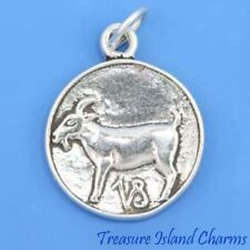 Capricorn Zodiac Sign .925 Solid Sterling Silver Charm Pendant MADE IN USA