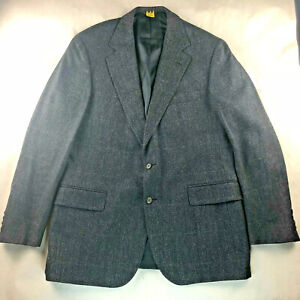 Polo University Club Ralph Lauren Suit Jacket Wool Black Blue Herringbone 40R