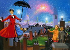 Mary Poppins chimney sweeps fireworks fantasy  OE ACEO  print art