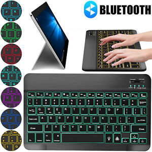 RGB LED Bluetooth Wireless Keyboard Slim for iPhone iPad Android Tablet Windows