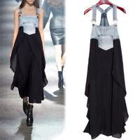 Womens Ladies Casual Dress Maxi Denim Sleeveless Chiffon Plus Size Summer Party