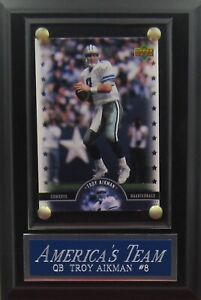 TROY AIKMAN DALLAS COWBOYS CARD PLAQUE FOR YOUR MAN CAVE WALL DECOR