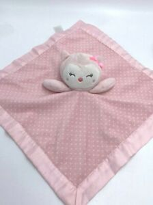 Child Of Mine Carters Pink White Owl Polka Dot Baby Security Blanket Rattle