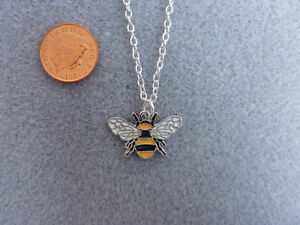 """Bumble Bee Enamel Charm S/Plated Pendant Necklace 18"""" Chain Birthday Gift # 236"""