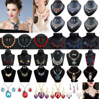 Fashion Jewelry Women Crystal Choker Chunky Statement Bib Pendant Necklace Chain