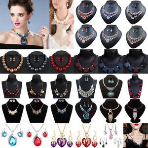 Fashion Jewelry Women Crystal Choker Chunky Statement Bib Pendant Necklace Chain