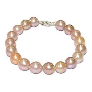 "Stunning Edison Peach Purple Pink Colors 9 - 10mm Round Pearl 7.5 - 8"" Bracelet"