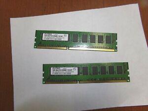 ELPIDA 1GB 1Rx8 PC3-8500E-7-10-DP EBJ10EE8BAFA-AE-E (Lot of 2)