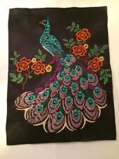 """Vintage Peacock Completed Embroidery Piece Vibrant Colors On Black Satin 12by16"""""""
