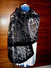 Velvet devore scarf/shawl  Fawn velvet animal print on black   NEW