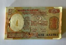 Uncirculated Indian Rupee 2 old Vintage Bank note Paper money Issued in 1985