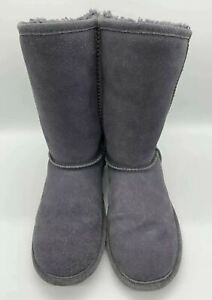 Bearpaw Womens Size 9 Stella Suede Boots Mid Calf Knit Back Wool Lined Gray Grey
