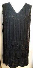 East Artesanal Cuello en V Vestido Con Cuentas totalmente en Negro-Talla 18-BNIP