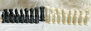 Vintage Glazed Porcelain Ceramic Chess Pieces Set 32 Black White